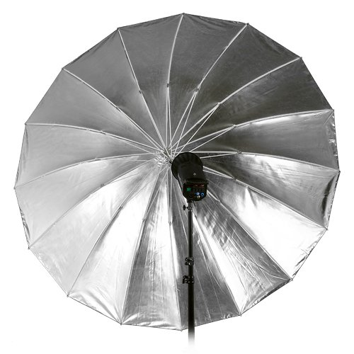 Fotodiox Pro 16-Rib, 72'' Black and Silver Reflective Parabolic Umbrella with Neutral White Diffusion Cover