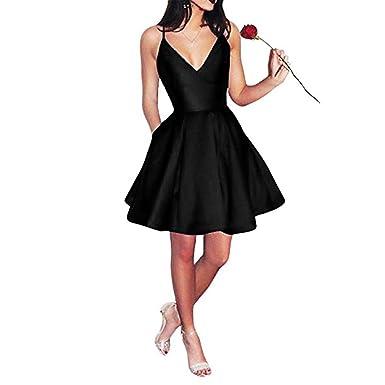 LovelyGirl Womens V-Neck Prom Dresses Short 2019 Spaghetti Straps Satin Formal Evening Gowns Homecoming