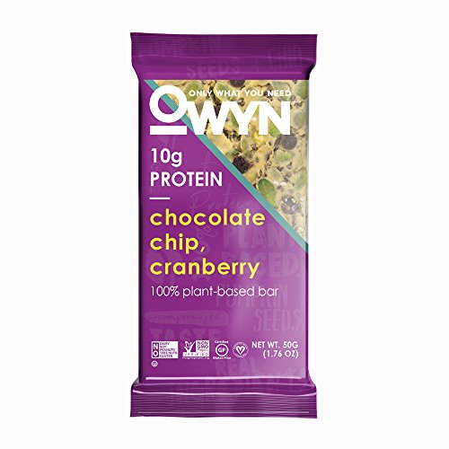 - OWYN Only What You Need 100% Plant-Based Bars, Chocolate Chip & Cranberry, Gluten-Free, Dairy-Free, Soy-Free, Allergy Friendly, Vegan 12 Pack