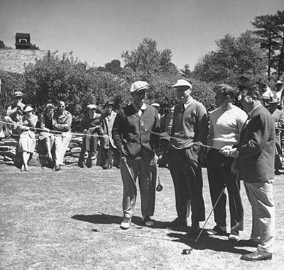 Photo Golfers Jimmy Demaret Byron Nelson Frank Stranahan Fred Corcoran golf tournament. 1945 - Jimmy Demaret Golf