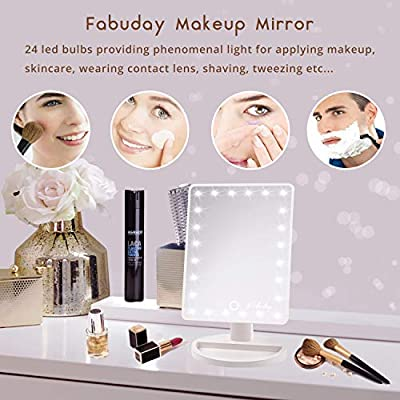 LED Lighted Makeup Mirror 24 Led Vanity Cosmetic Mirror, Touch Screen Light Adjustable Diammable Dual Power Supply, 180° Rotation, Color Boxed, White