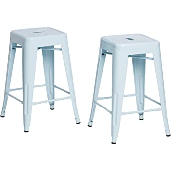 Amazon Com Tabouret 24 Inch Light Blue Bar Stools Set Of 2 Kitchen Amp Dining
