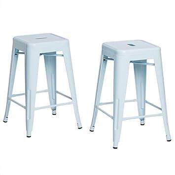 tabouret 24inch light blue bar stools set of 2