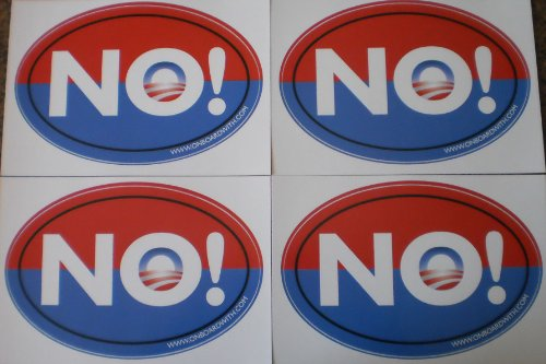 "Quantity 4 - ANTI-OBAMA NOBAMA ""NO!"" 4""x6"" OVAL BUMPER STICKERS (decal car sign gop republican romney 2012 presidential election) by OnBoardWith.com"