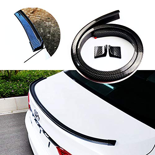 (Carbon Fiber Rubber Rear Spoiler Tail Wing Universal Exterior Rear Spoiler Kit,Decorate Car-styling,DIY Refit Spoiler Car Accessories Fits for Most Cars Punch-Free Installation(Length: 4.9ft))