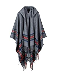 Romacci New Women Knitted Poncho Cape Hooded Stripe Cardigan Sweater Long Shawl Scarf