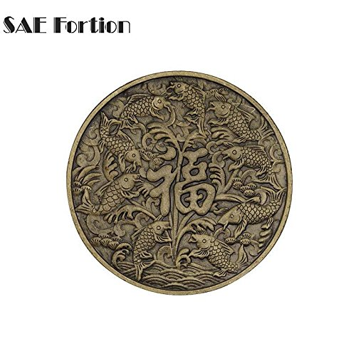 STAR-FIVE-STORE - Bronze Character''fortune'' Kois Symbolizes Good Luck And Wealth Chinese Style Coin Home Decor Commemorative Copy Coin JNB5058