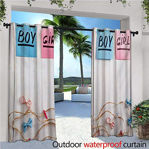 homehot Gender Reveal Indoor/Outdoor Single Panel Print Window Curtain Colorful Stickers Garland and Ribbons Greetings on Wooden Seem Background Silver Grommet Top Drape W96 x L108 Multicolor