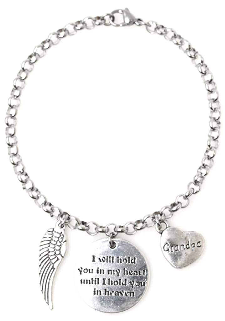"Adjustable 8.5"" Stainless Steel Bracelet I Will Hold You in My Heart Until I Hold You in Heaven Angel Wing Family Names, 11 Options"