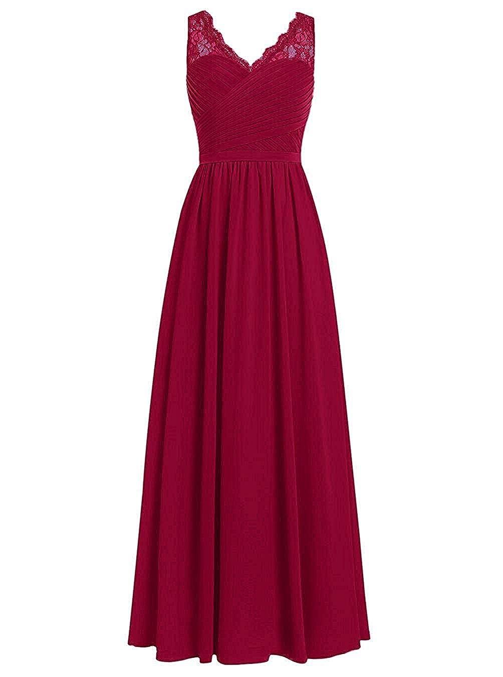 Burgundy Loffy Women's Elegant VNeck Sleeveless Formal Long Evening Dres