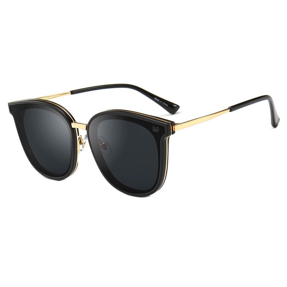 Drunk Monster Premium Quality Classic Oversized Sunglasses for Men Women Polarized 100% UV protection (Black) by Drunk Monster