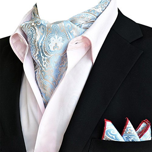Elegant Tie Business Wedding Ascot Men's Floral 06 Silk Set Blue Xlj YCHENG Handkerchief Paisley dq6y1Id4w