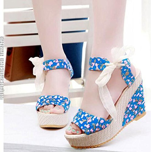 With Waterproof Platform Sweet Thirty Casual Fish Shoes Slope six New Bottom KHSKX Thick Mouth European Ribbon Shoes Taiwan Blue Shoes Fc8PUTOqd
