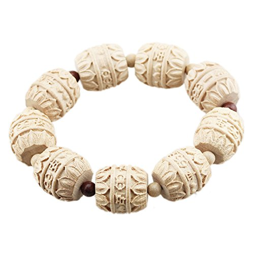 FOY-MALL 20mm Peach Wood Carved Chinese Characters Bead Stretch Bracelet E1557 (Wood Beads Peach)