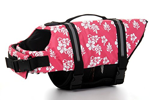 Dog Saver Life Jacket Reflective Pet Preserver Multi-Size Aquatic Safety Vest Suitable for Summer Beach(Pink Flower,Small)