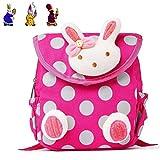 Baby Girl Toddler Rabbit Backpack Rucksack, URAQT Cute 3D Rabbit School Bag Kids Gift for Lunch Picnic Camping Outdoor Kindergarten Preschool