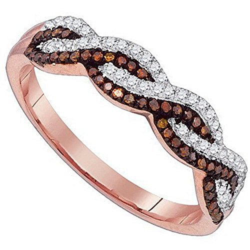 Infinity Band Ring Cognac White Brown Diamond Rose Gold Promise Ring Anniversary 1/5cttw(i2/i3, i/j)