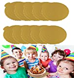 Cake Circle Board,Fashionclubs 8'' Cake Displaying Plate Cardboard Pad,Cake&Pizza Serving Platters,Corrugated Circle Gold FoilGrease-Proof,Thick And Reusable,Pack of 10