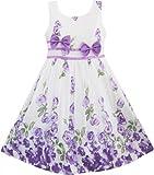 Girls Dress Purple Rose Flower Double Bow Tie Party Kids Sundress Size 4-5 Years