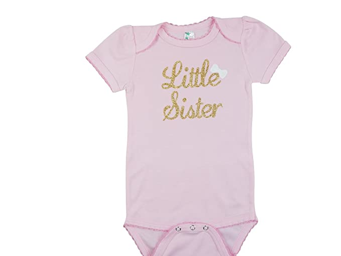 fe1720dd3 Amazon.com: PoshPeanut Little Sister Short Sleeve Bodysuit - Baby Girl  Clothing Onesie Outfit Lil Sis Shirt Pink: Clothing