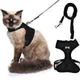 Adjustable Cat Harness,Escape Proof Cat Harness,Cat Vest Harnesses with Strap Soft Mesh Metal Clip No Choke Comfort Walking Jacket for Pet Puppy Kitten