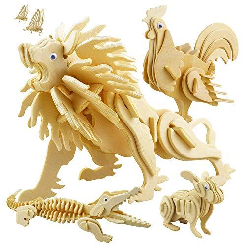 3D en bois puzzle jigsaw woodcraft petit lion en bois modélisation puzzle jouet cadeau