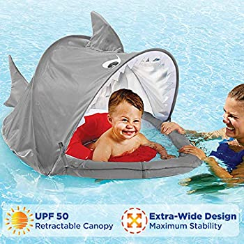 SwimSchool ET9151 Sparky-The-Shark Fabric Baby Boat, Retractable Canopy, UPF 50, Extra-Wide Inflatable Pool Float, 6 to 24 Months, Grey