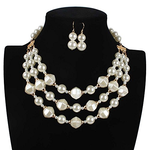 Fashion Necklace Collar Pearl Necklaces & Pendants Trendy Choker Chunky Statement Simulated Pearl Necklace 7390 (Jackie 3 Piece Costumes)