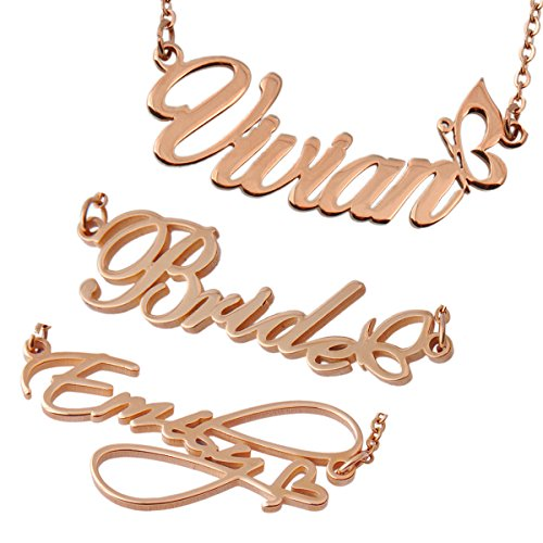 Personal Custom Name Initial Necklace Monogram Heart Butterfly Words Girl's Jewelry (Necklace Jewelry Monogram)