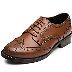 Odema Classic Casual Pointed Toe Brogues Perforated Lace up Oxfords Wingtip Leather Flat Dress Shoes for Womens