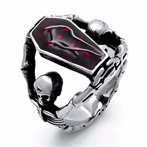 Elfasio Men's Stainless Steel Band Ring Gothic Vampire Skeleton Bloody Red Enamel Coffin Bike (size 12)