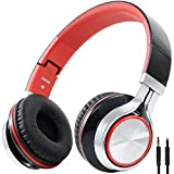 BienSound HW50 Stereo Folding Headsets Strong Low Bass Headphones with Microphone for iPhone, All Android Smartphones, PC, Laptop, Mp3/mp4, Tablet Macbook Earphones (black/red)