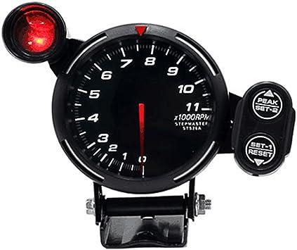 KKmoon 3.5 Tachometer Gauge Kit White LED 11000 RPM Meter with Adjustable Shift Light+Stepping Motor Black