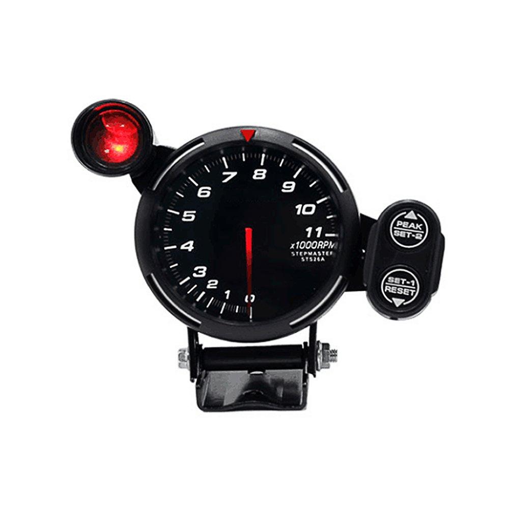 KKmoon 3.5 Inch Tachometer Gauge Kit White LED 11000 RPM Meter with Adjustable Shift Light+Stepping Motor Black
