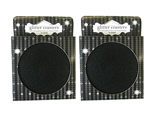 Cardboard Disposable Drink Coasters 16 Per Set |Black Glitter|8 Coasters Per Pkg. | Pack of 2 |
