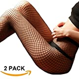 MERYLURE Black Fishnet Pantyhose 2 Pairs Women's Seamless Sheer Mesh Hollow Out Tights Stockings (One Size, Medium Hole,2 Pack)