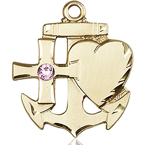 14kt Yellow Gold Faith Hope & Charity Medal with 3mm Light February Purple Swarovski Crystal 7/8 x 3/4 inches by Bonyak Jewelry Saint Medal Collection