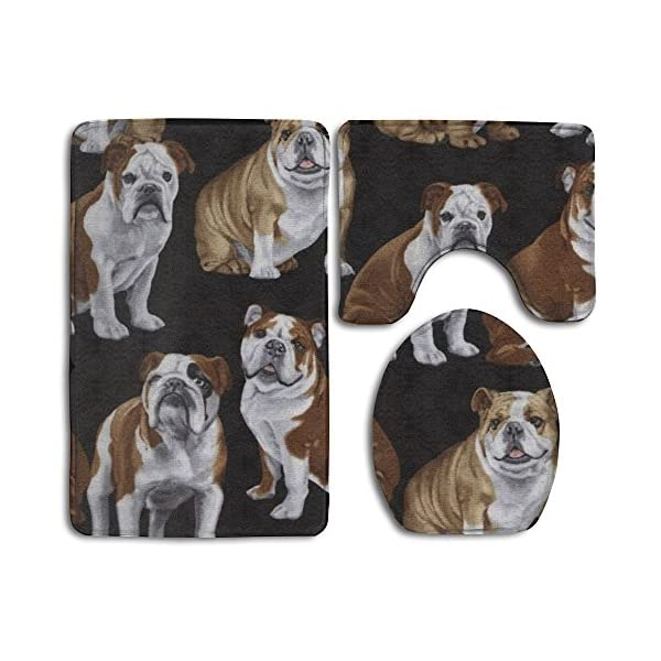 Huadduo English Bulldogs Bath Mat Set,3 Piece Bathroom Mats Set Non-Slip Bathroom Rugs/Contour Mat/Toilet Cover 1