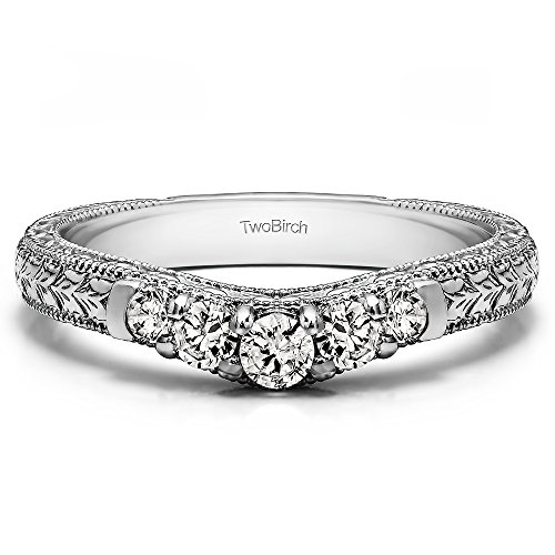 - Cubic Zirconia Vintage Engraved Curved Ring In Sterling Silver(0.33Ct) Size 3 To 15 in 1/4 Size Interval