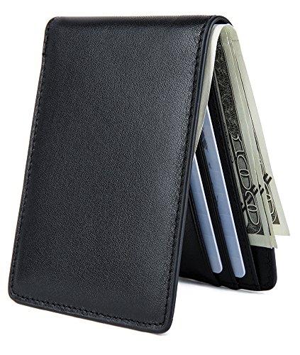 Front Fold Wallet (Slim Bilfold Leather Wallet for Men Front Pocket Minimalist Walletwith RFID Blocking ID window - Black)