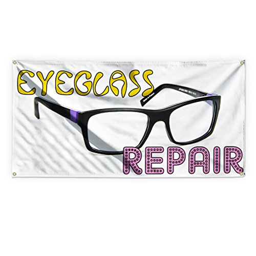 Eyeglass Repair #1 Outdoor Advertising Printing Vinyl Banner Sign With Grommets - 3ftx6ft, 6 Grommets