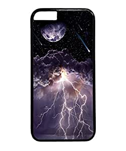 VUTTOO Iphone 6 Plus Case, Moon Asteroids Storm Clouds Lightning Hard Plastic Case for Apple Iphone 6 Plus 5.5 Inch PC Black