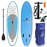 SereneLife Inflatable Stand Up Paddle Board (6 Inches Thick) with Premium SUP...