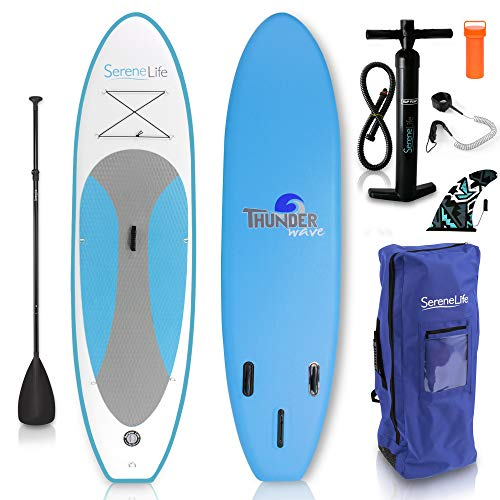 (SereneLife Inflatable Stand Up Paddle Board (6 Inches Thick) with Premium SUP Accessories & Carry Bag | Wide Stance, Bottom Fin for Paddling, Surf Control, Non-Slip Deck | Youth & Adult Standing Boat )