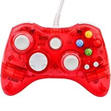 Kycola PC Controller for Xbox 360 GC20 Transparent LED Controller Dual Vibration Wired Controller for Microsoft Xbox 360/PC(Red)