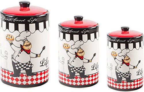 Classic Ceramic Set of 3 Fatboy Chef Design Canister Round Jars with for Kitchen - Food Storage - Lid and Rubber Gasket (Fat Chef Kitchen Cookie Jar)