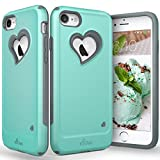 "iPhone 7 Case, Vena [vLove][Heart-Shape | Dual Layer Protection] Hybrid Bumper Cover for Apple iPhone 7 (4.7""-inch) (Teal/Gray) (Wireless Phone Accessory)"