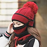 Zhahender Skiny Touch Hat Female Winter Thick Knit Warm hat mask Windproof Collar Autumn and Winter Riding Earmuffs Wool Cap (Color : Burgundy) an Ideal hat (Color : Burgundy)