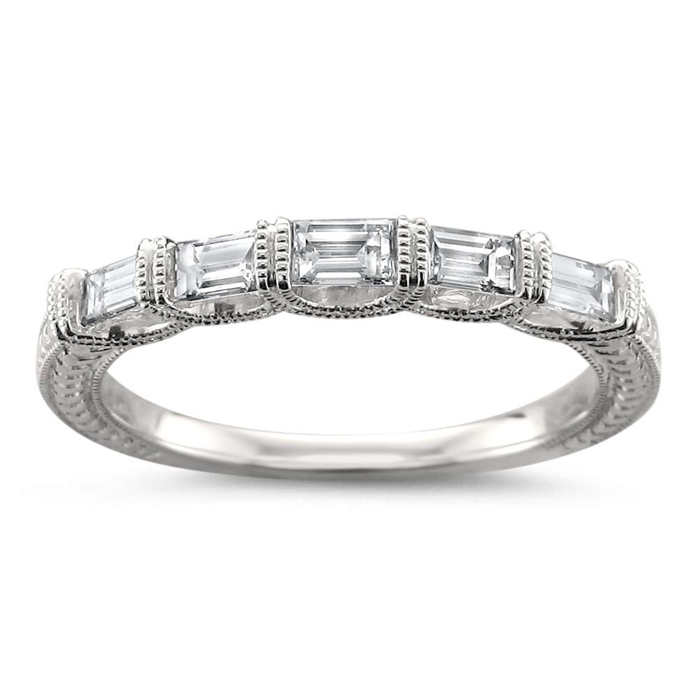 14k White Gold 5-Stone Baguette Diamond Milgrain Vintage-Style Wedding Band Ring (1/2 cttw, H-I, SI1-SI2), Size 6.5