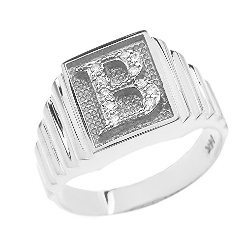 Men's 925 Sterling Silver Layered Band Square Face Diamond Initial Letter B Ring (Size - Shaped Diamond Men Face